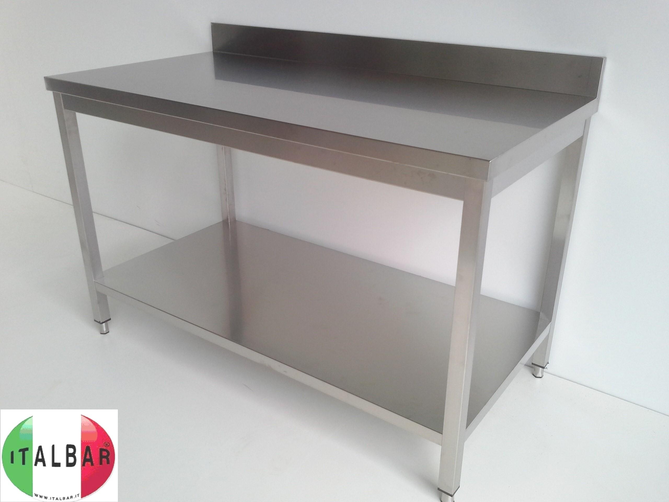 Italbar banconi bar banchi frigo vetrine refrigerate tavolo inox con ripiano cm - Tavolo acciaio inox usato ...