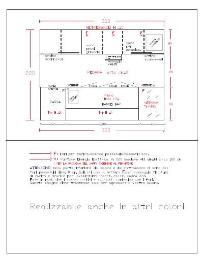 disegno banco bar wengè