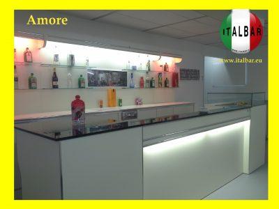 Banco Bar Amore cm.400 + retrobanco, portabottiglie e pedana: €.9.000+iva