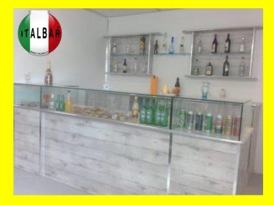 Banco Bar Trinità cm.300 + retrobanco, portabottiglie e pedana: €. 6.300+iva